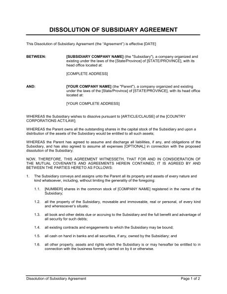 Partnership Dissolution Agreement - Template & Sample Form ...