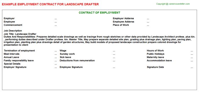 Landscape Drafter Employment Contracts
