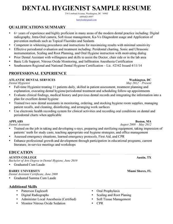 Resume Example Dental Hygienist. Resume. Ixiplay Free Resume Samples