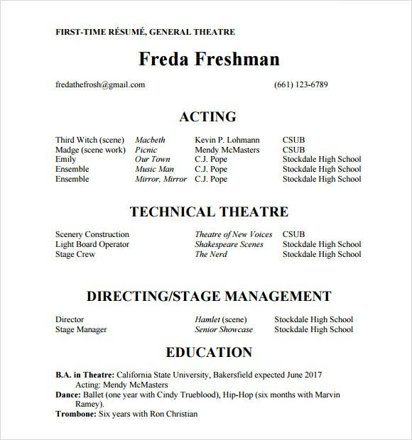acting resume template word httptopresumeinfoacting resume theater ...