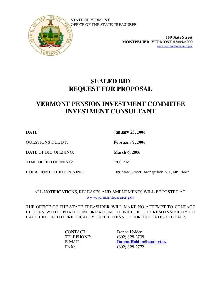 SEALED BID REQUEST FOR PROPOSAL VERMONT PENSION INVESTMENT ...