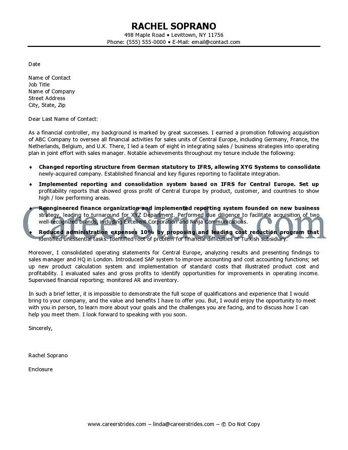 First-Class Finance Cover Letter 1 Best Accounting Examples - CV ...
