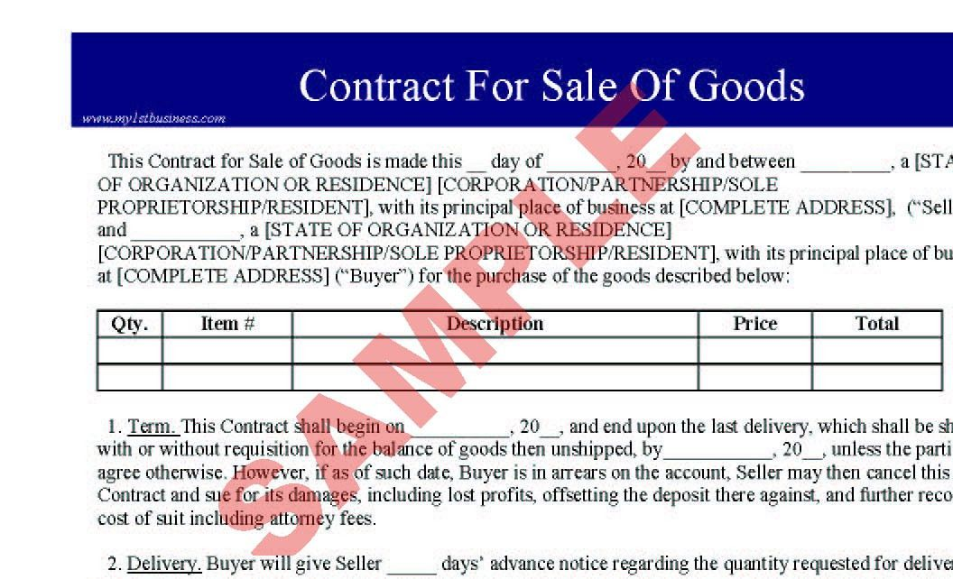 Contract for Sale of Goods - Business Forms - Legal & Agreement ...