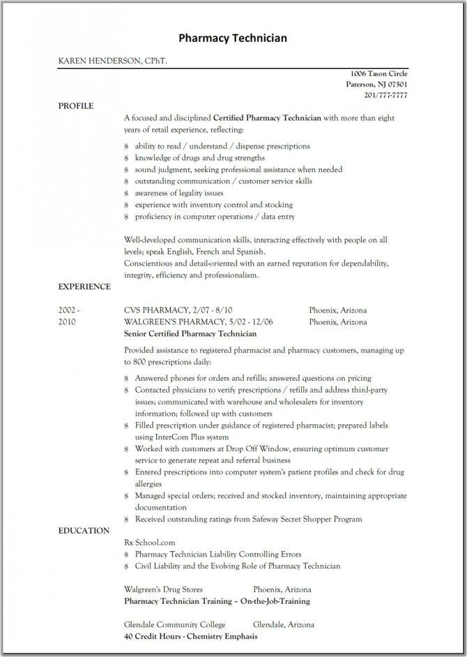 Incredible Ideas Pharmacy Technician Resume Sample 8 - CV Resume Ideas
