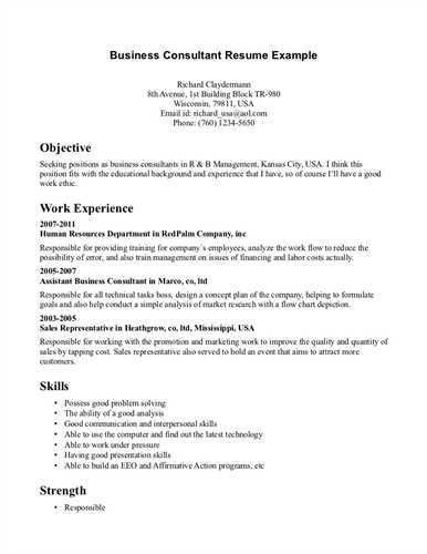 Contents of a Business Consultant Resume