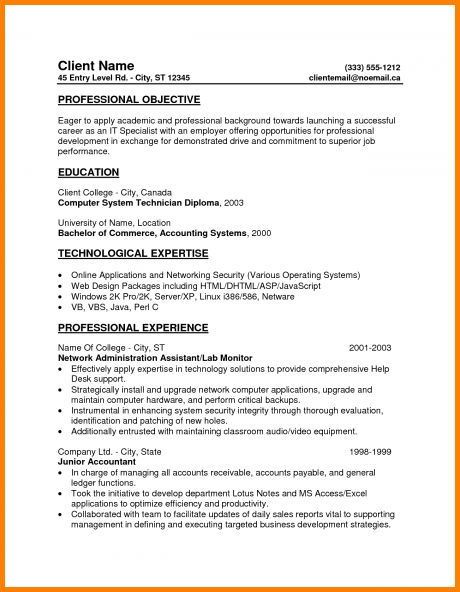 4+ entry level resume objective examples | nypd resume