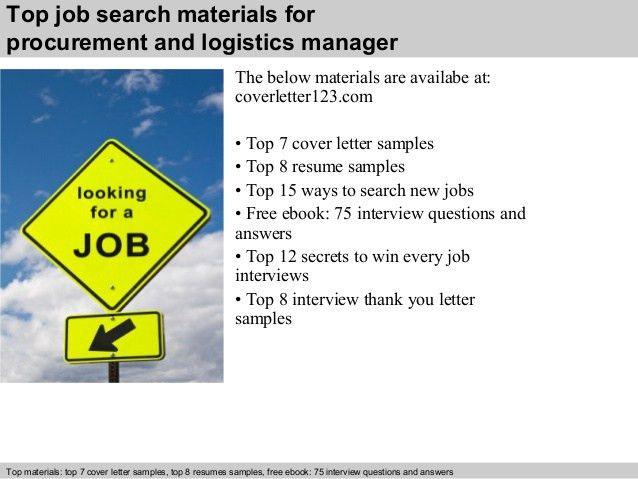 Procurement and logistics manager cover letter