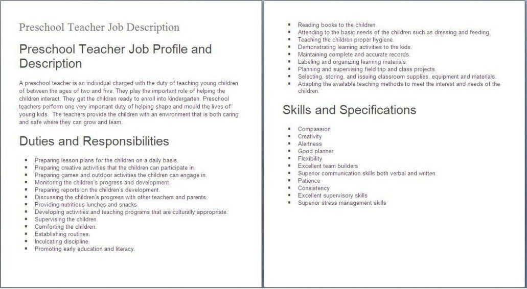 Teacher Job Description For Resume | Resume Examples 2017