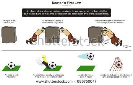 First Law Motion Infographic Diagram Examples Stock Illustration ...