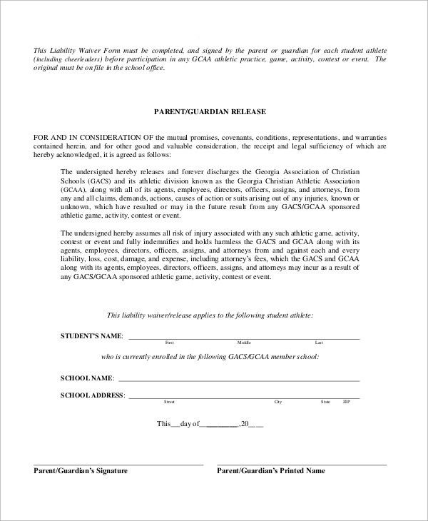 Sample Liability Waiver Form   10+ Examples In Word, PDF  Generic Liability Waiver And Release Form