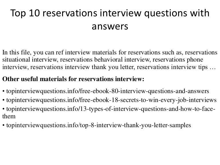 Top 10 reservations interview questions with answers