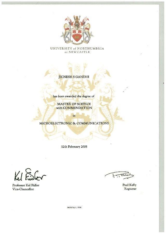 master degree certificate