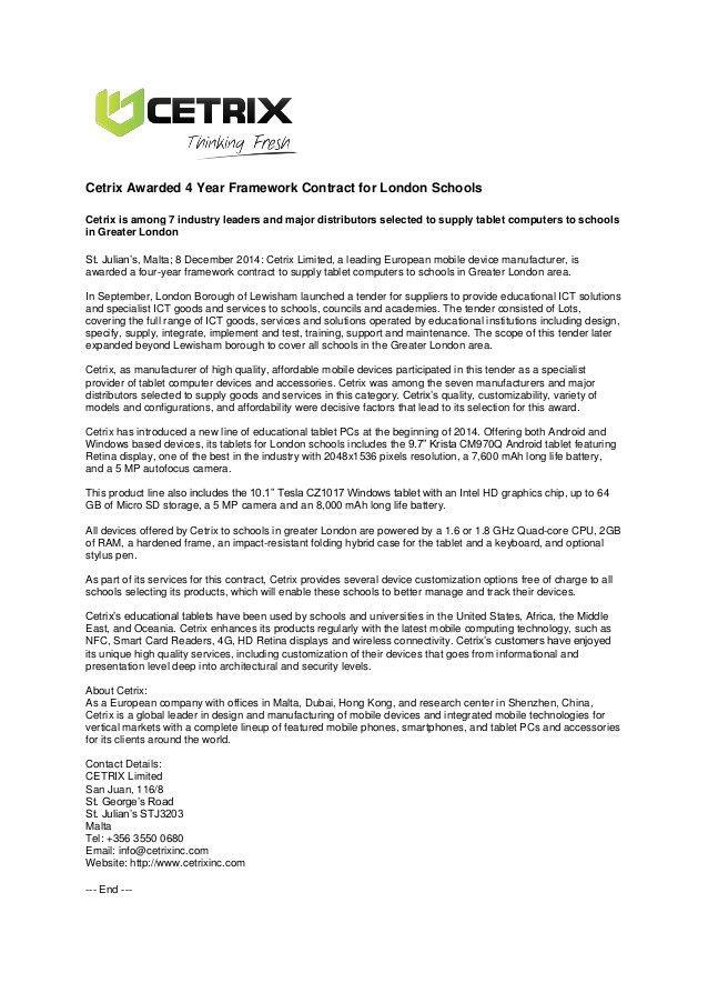 Cetrix London Schools Contract Award - Press Release