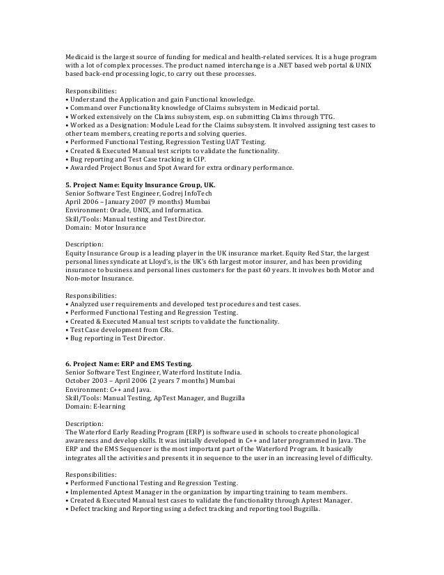 manual testing resume manual testing resume format samples resume