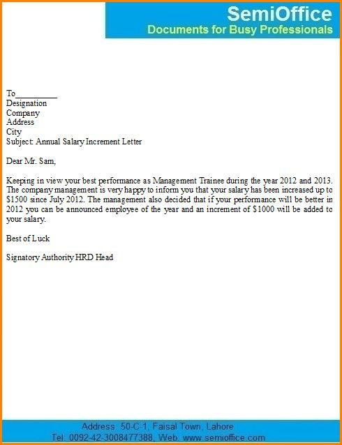 6+ salary increase letter template   writable calendar