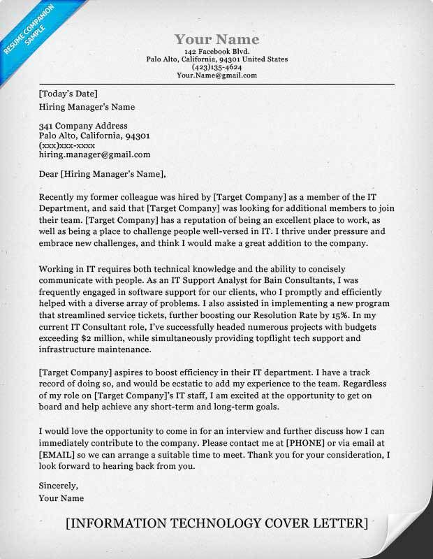 Information Technology (IT) Cover Letter Sample | Resume Companion