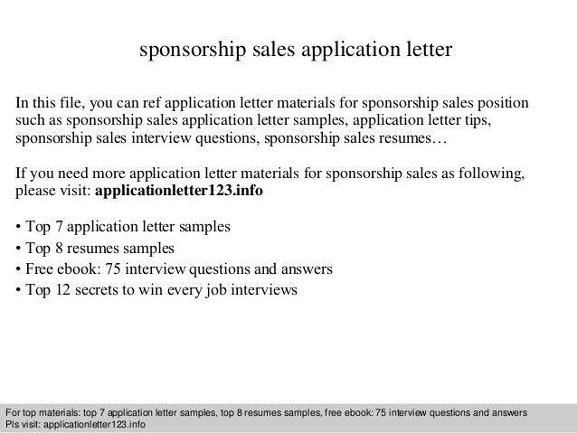 Sponsorship sales application letter