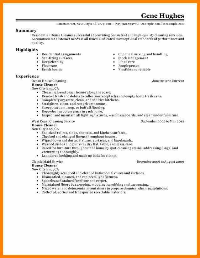 8+ house cleaning resume | character refence
