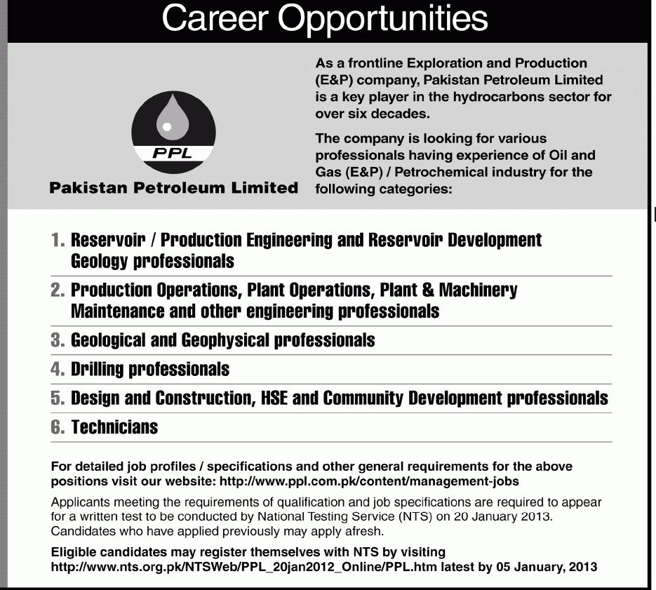Operations Job, PPL Pakistan Petroleum Limited, Reservoir ...