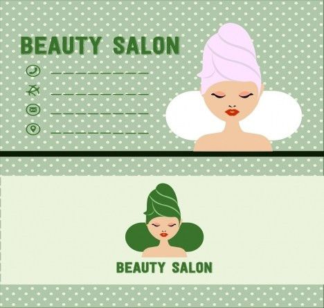 Beauty salon name card template spa woman icon vectors stock in ...
