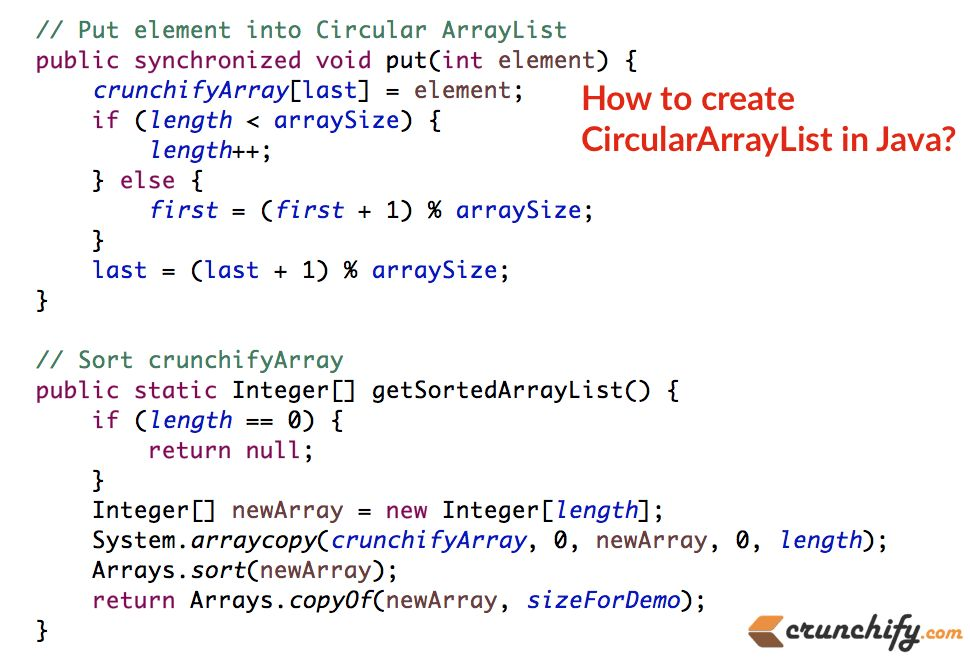 How to Implement Simple CircularArrayList in Java? • Crunchify