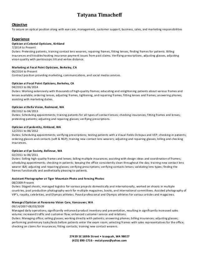 job description for optician optician training optician training