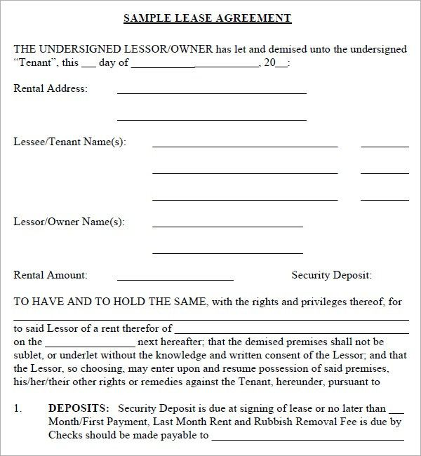 Lease Contract Format Lease Agreement Create A Free Rental – Simple Rental Agreement Example