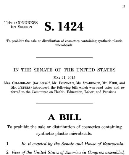 Microbead-Free Waters Act of 2015 (2015; 114th Congress S. 1424 ...