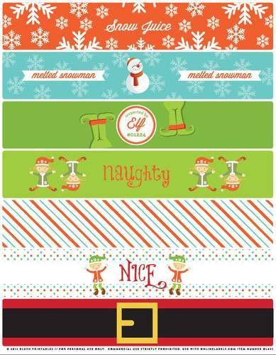 Assorted Christmas Themed Water Bottle Labels Printable - Label ...