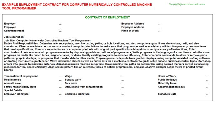 Tool Programmer Employment Contracts