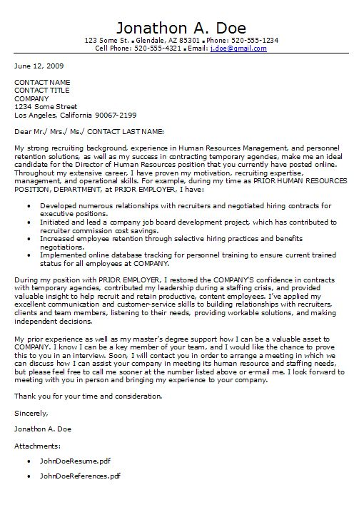 hr manager cover letter sample cover letter human resources ...