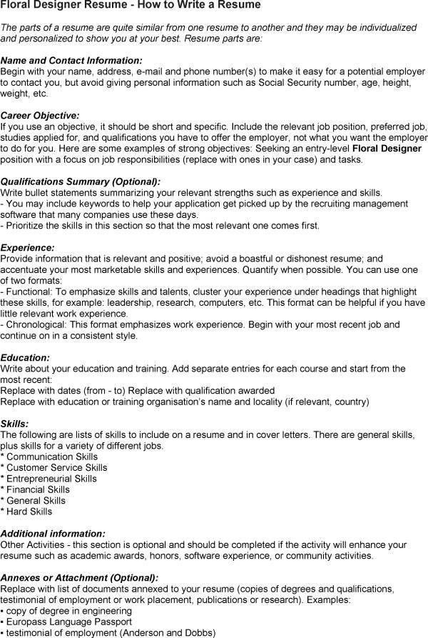 Floral Designer Resume Skills. resume writing design savage ...