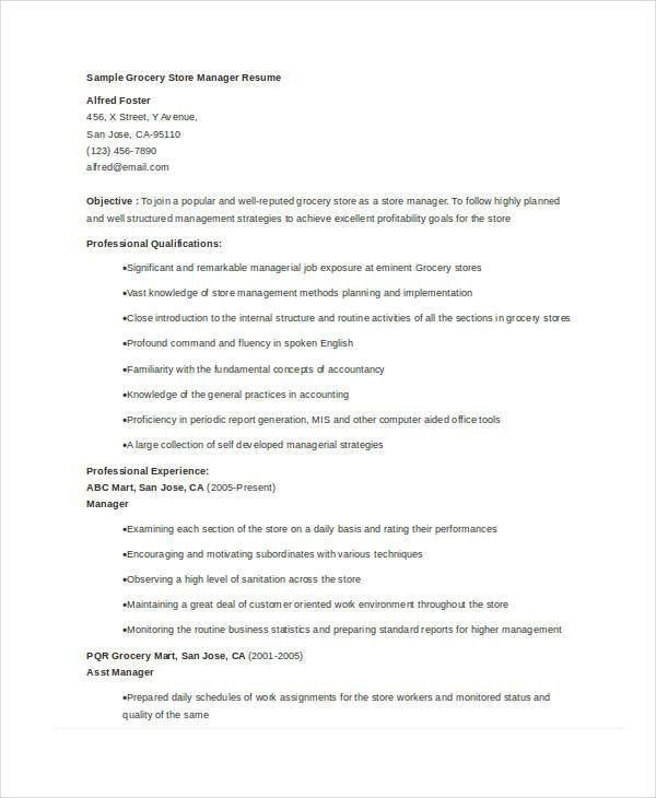 Store Manager Resume - 9+ Free PDF, Word Documents Download | Free ...