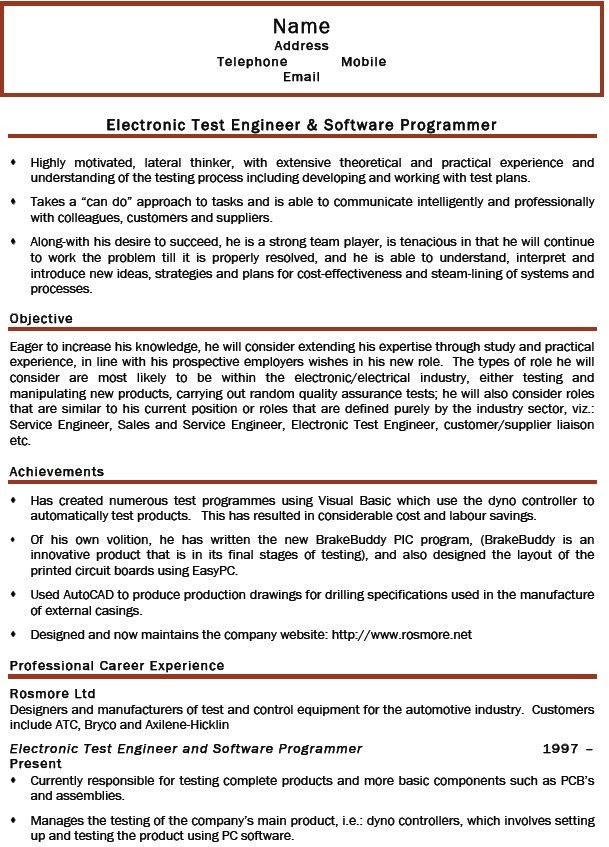 test engineering resume test engineer resume samples visualcv