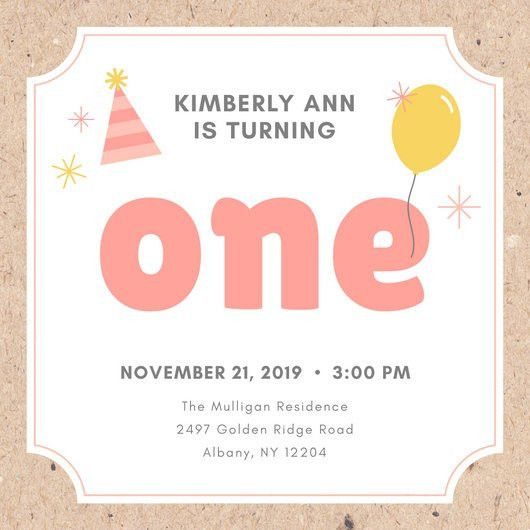 Pink and Yellow Party Hat and Balloon First Birthday Invitation ...