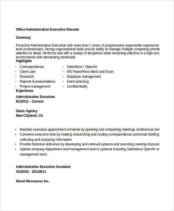 Administration Resume Samples - 29+ Free Word, PDF Documents ...