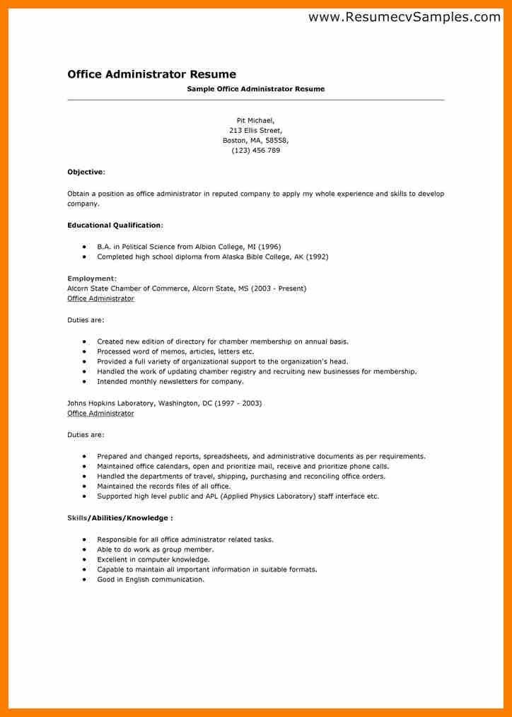 Administrative Resume Template. A Resume Template For A Consular ...