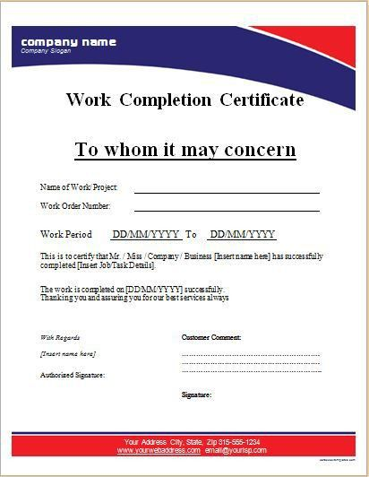 Work Completion Certificate Templates for MS WORD | Word & Excel ...
