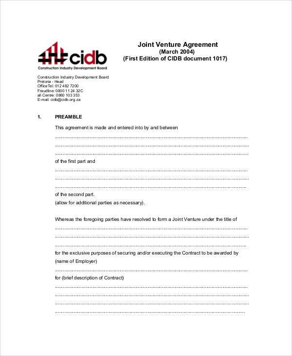 Joint Venture Agreements Sample Joint Venture Agreement Template