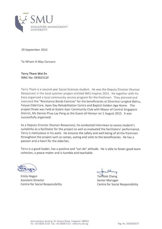 letter from Community for Service Responsibility