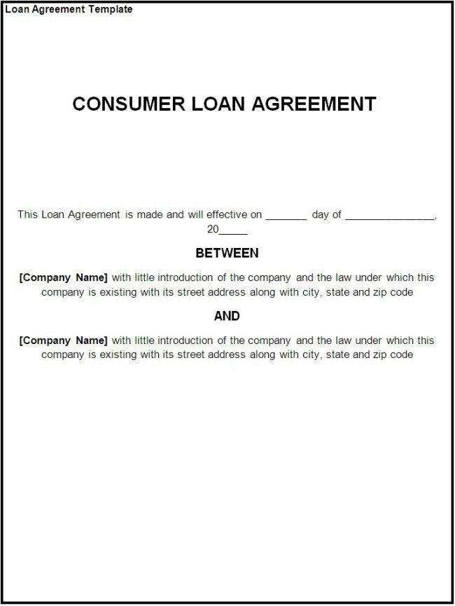 Minimalist Template Sample of Consumer Loan Agreement with ...