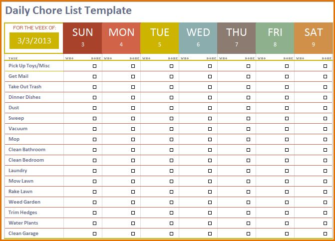8+ daily task template | Job Resumes Word