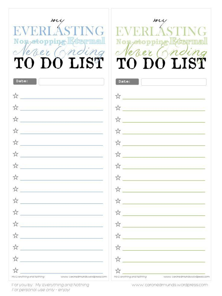Free Printable To Do Lists | Printable To Do Lists