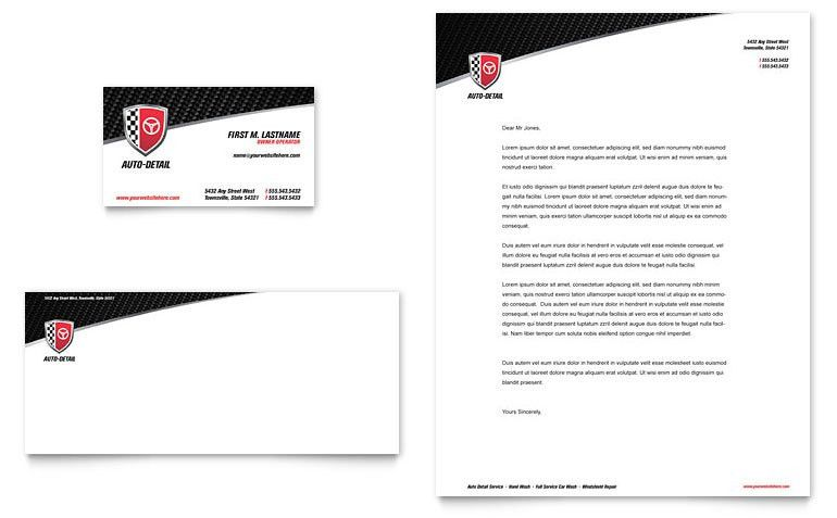 Auto Detailing Business Card & Letterhead Template - Word & Publisher