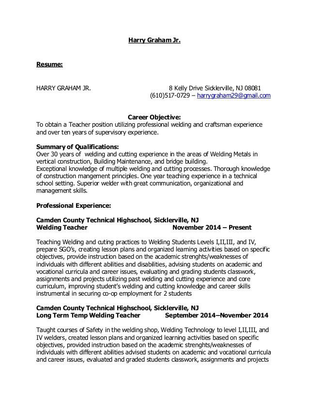Harry Graham Teaching Resume