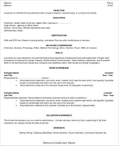 CNA Resume Objective - 6+ Examples in Word, PDF
