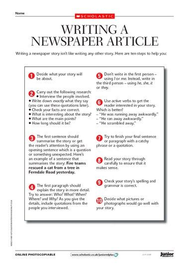 8 Best Images of A Newspaper Article Writing Template - Article ...