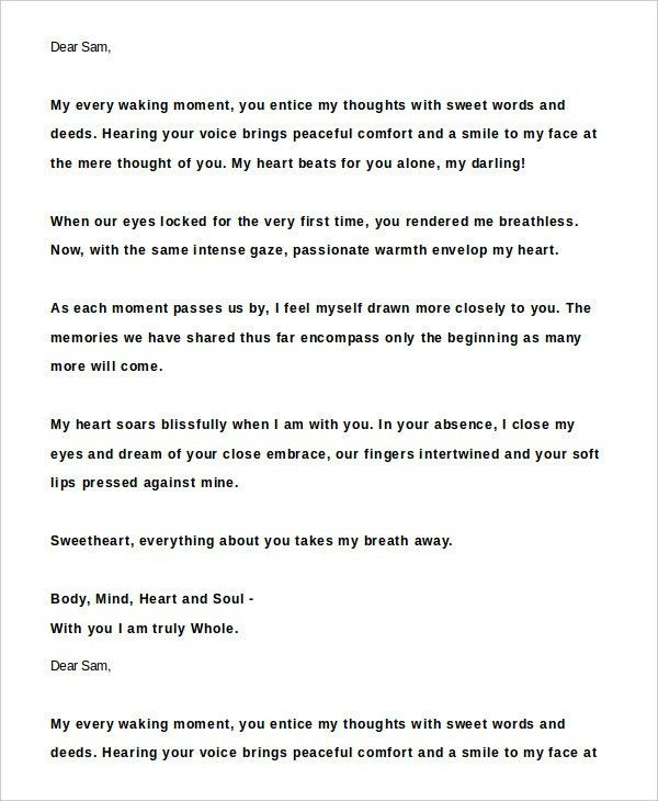 Best Love Letters For Him - 8+ Free Word Documents Download | Free ...