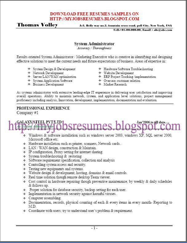 Download Linux Sys Administration Sample Resume ...