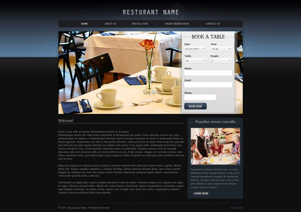 Free Restaurant Website Templates | PHPJabbers